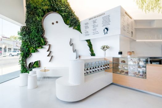Dan Brunn Architecture have recently completed 'Coffee for Sasquatch', a new coffee shop in Los Angeles, that features an 11 ft tall Sasquatch surrounded by plants. #InteriorDesign #CoffeeShop