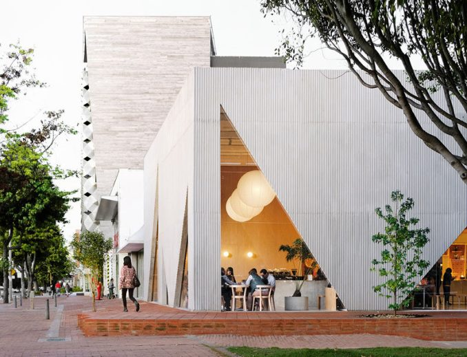 Studio Cadena has recently completed the design of Masa, a new restaurant that occupies a corner along a main avenue in Bogota, Columbia. #ModernRestaurant #Architecture
