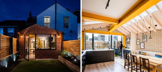 Bold yellow steel, oversailing timber rafters, and plywood enclosures form warm and playful spaces in this rear extension of a London terrace house. #HouseExtension #BrickExtension