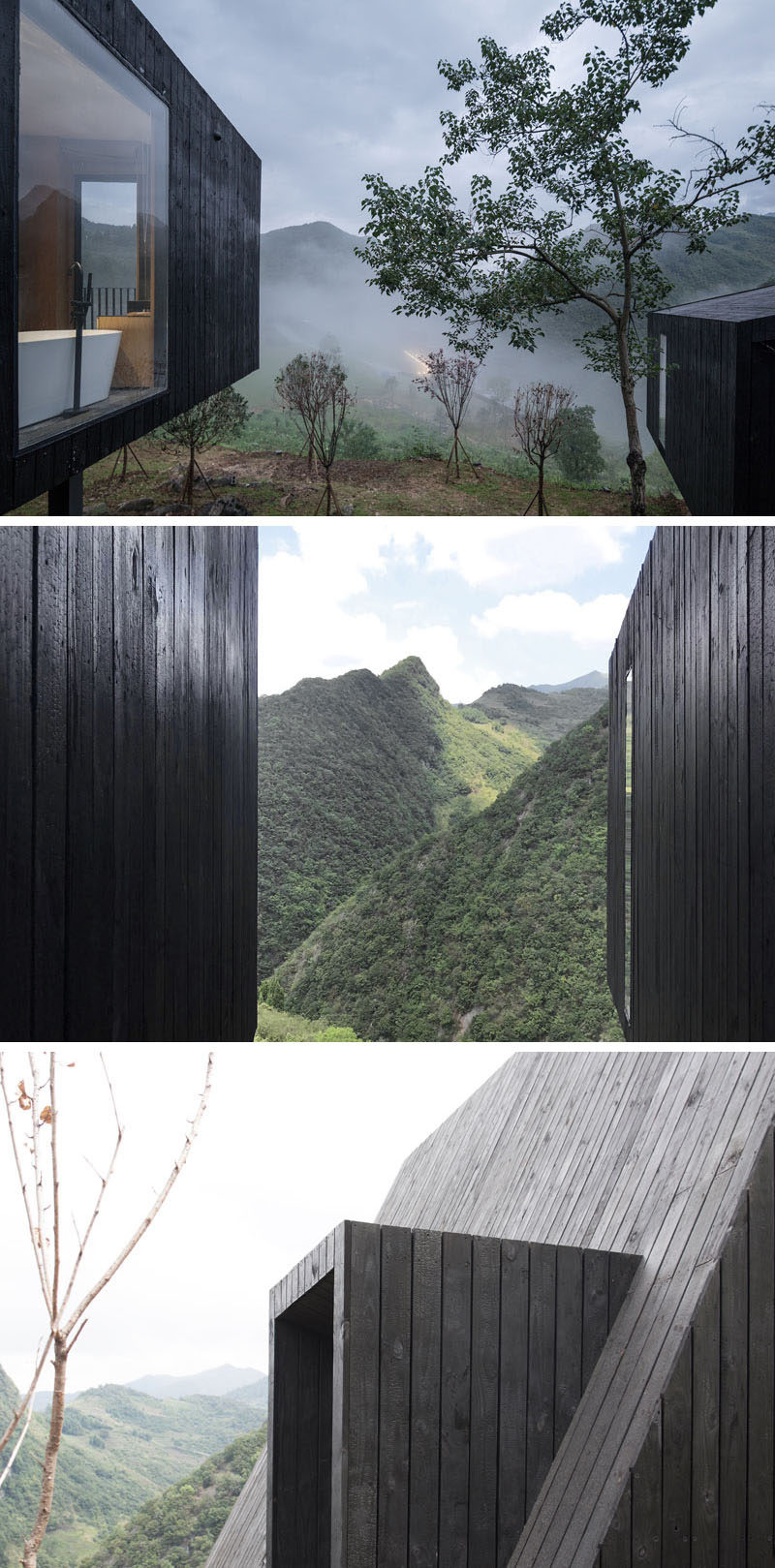 Blackened wood has been used as the exterior material for these cabins in rural China. #ShouSugiBan #Architecture