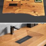 This Wood Vanity Has A Carved Out Sink And A Built In Sunken Planter