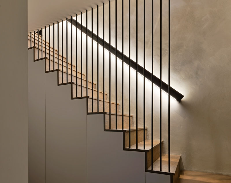 Design Detail These Wood Stairs Have A Handrail With Hidden Lighting | Modern Wood Staircase Railing | Residential | Interior | Floor To Ceiling | Ultra Modern | Traditional Wood Stair