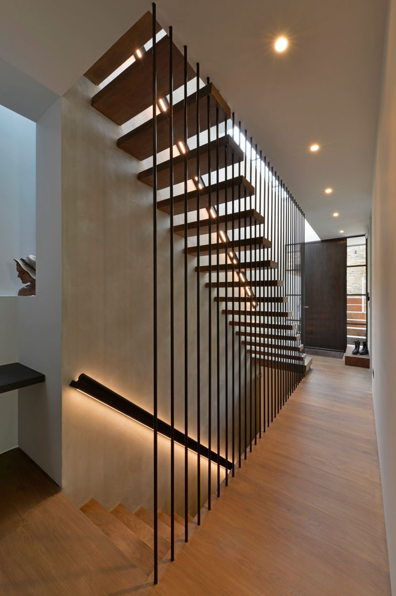 Design Detail These Wood Stairs Have A Handrail With Hidden Lighting | Modern Wood Staircase Railing | Interior | Stylish | Wall Mounted | Contemporary | House