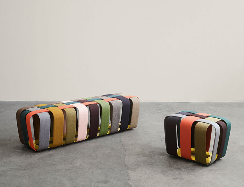Max Lipsey has created the Woven Bench, that makes use of colorful upholstered strips of metal to create a modern bench. #ModernFurniture #ModernBench #ModernSeating