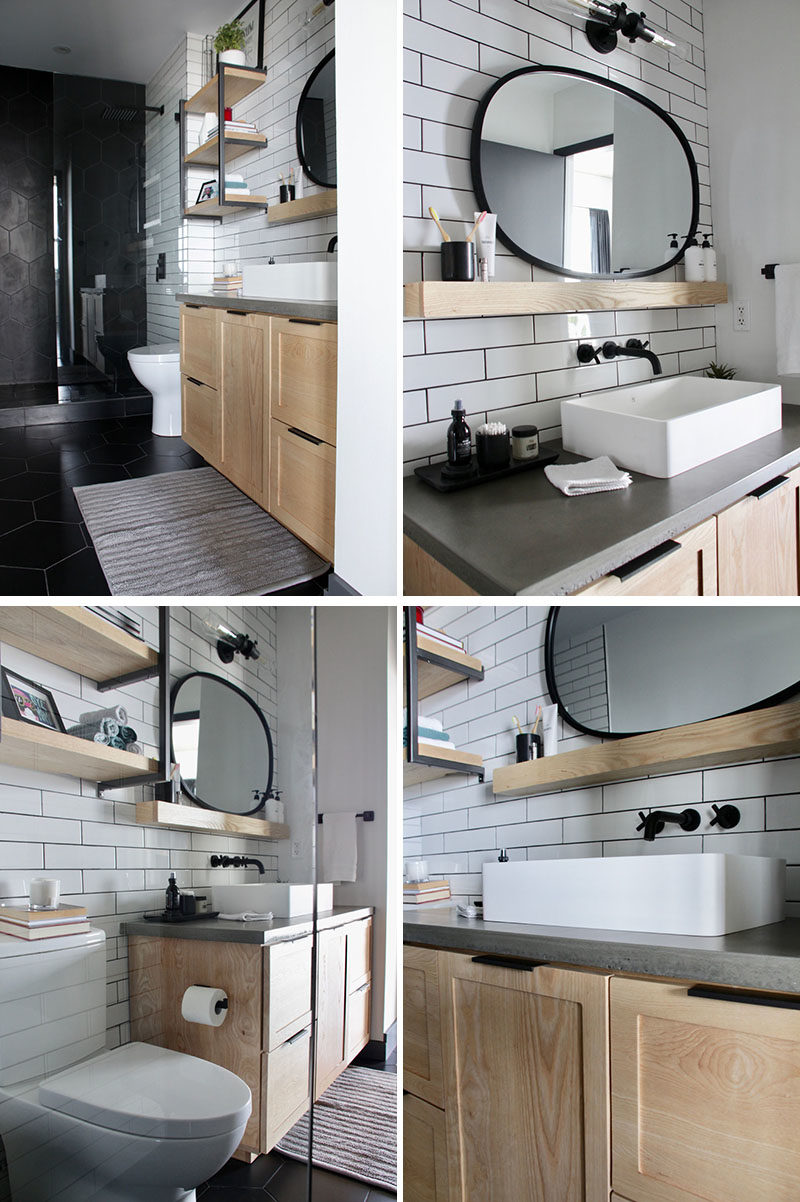 Before And After A Bathroom Renovation With Industrial Touches