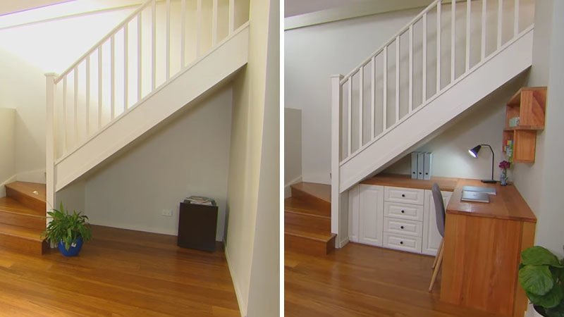 Storage Ideas Make Use Of Unused Space By Creating Storage Under | Kitchen Under Stairs Design | Cupboard | Living Room | Wet Bar | Basement Renovations | Staircase Storage