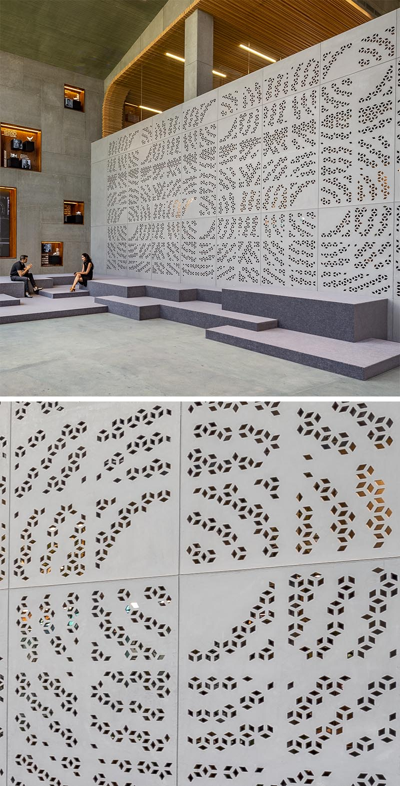 The large wall, located in an expansive reception space, has been adorned with geometric perforations creating an overall circular pattern. #OfficeDesign #WorkplaceDesign #ArtisticWall #Perforated Wall
