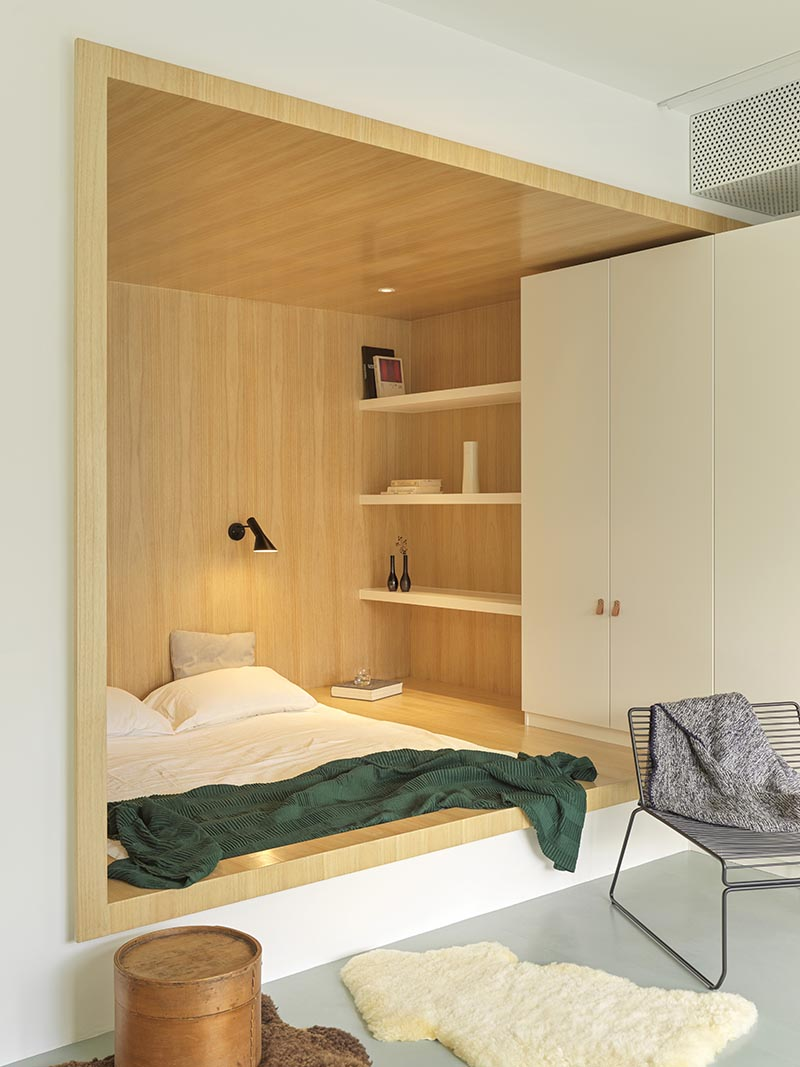 Bedroom Design Idea Create A Built In Bed Within A Wood Lined Niche
