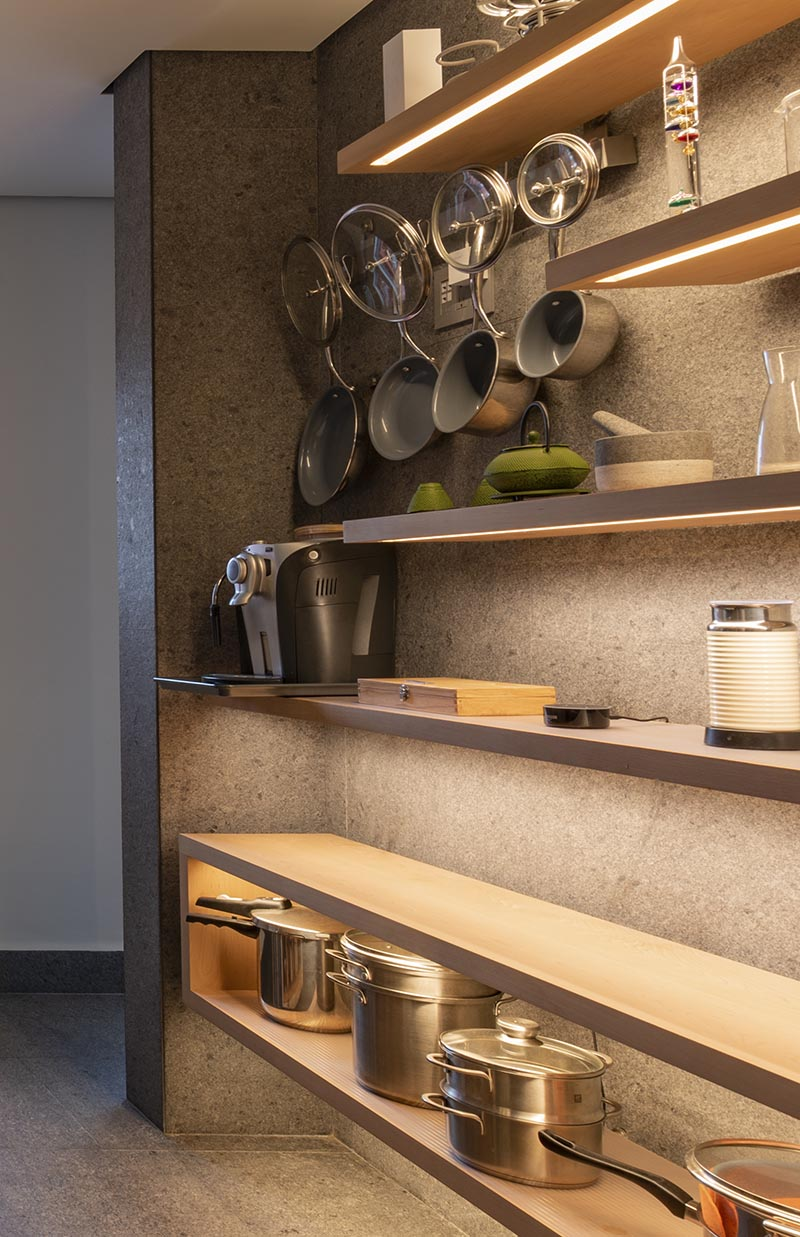 use hidden lighting under shelves to