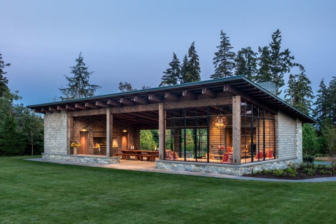 This modern garden pavilion draws inspiration from the Pacific Northwest, local materials, and the vernacular stone and timber structures built across the country in the 1930s by the Civilian Conservation Corps. #ModernArchitecture #PacificNorthwestArchitecture #GardenPavilion