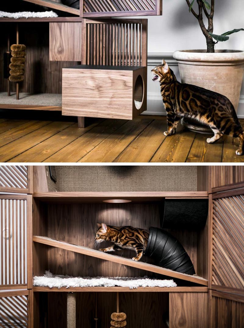 The Cat Flat is a modern three level cabinet designed for cats. It has various textures, scratching poles, brushes, openings and tunnels, as well as a hammock. #CatFurniture #CatCabinet #PetFurniture #Cats #FurnitureDesign #Design