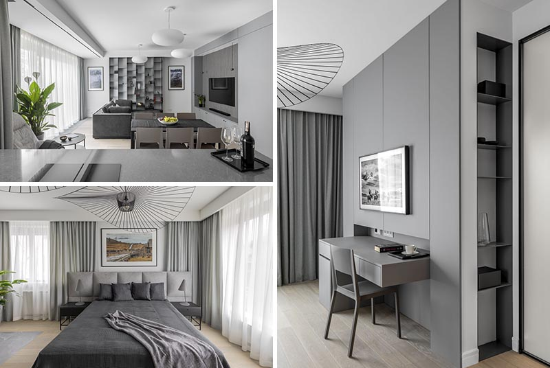 Architect Jacek Tryc has completed a modern apartment in Warsaw, Poland, that features a monochromatic color palette that was inspired by summer trips to the Arctic Circle. #ModernApartment #Monochromatic #InteriorDesign #MonochromeColorPalette