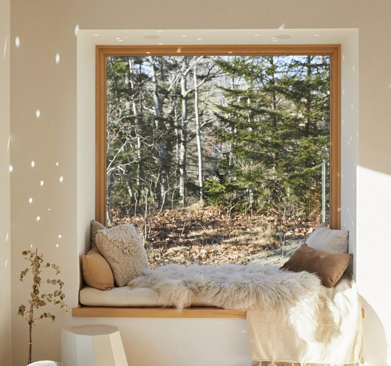 A cozy window seat with views of the trees.