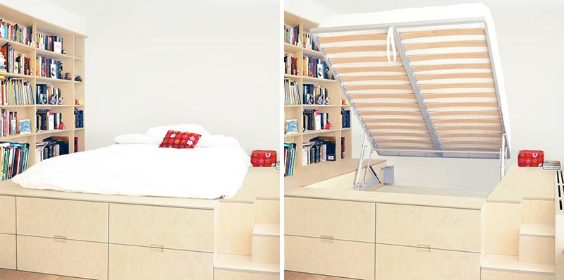 A custom platform bed that's been raised up to create hidden storage.