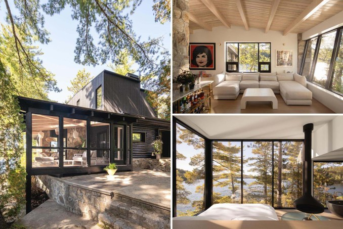 A remodel of an old log cabin includes a new black exterior and modern interior.
