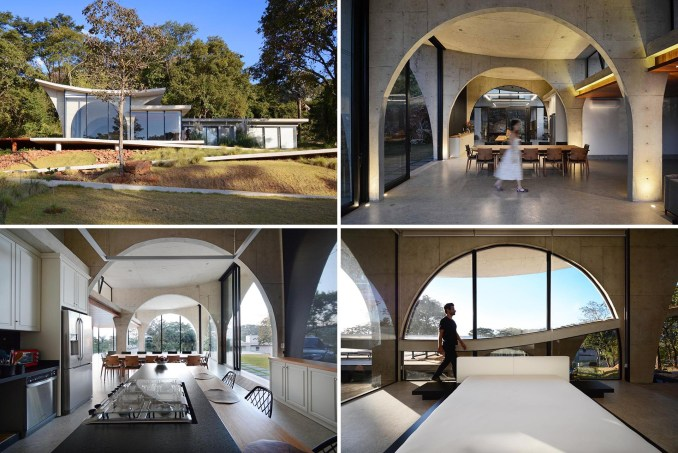 A modern concrete, glass, and wood home filled with arches.
