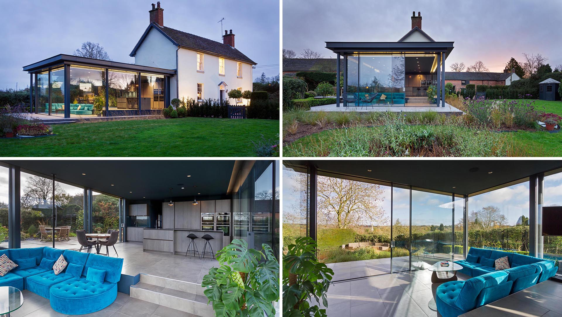 A modern glass enclosed extension with open living space was added to a heritage home in England.