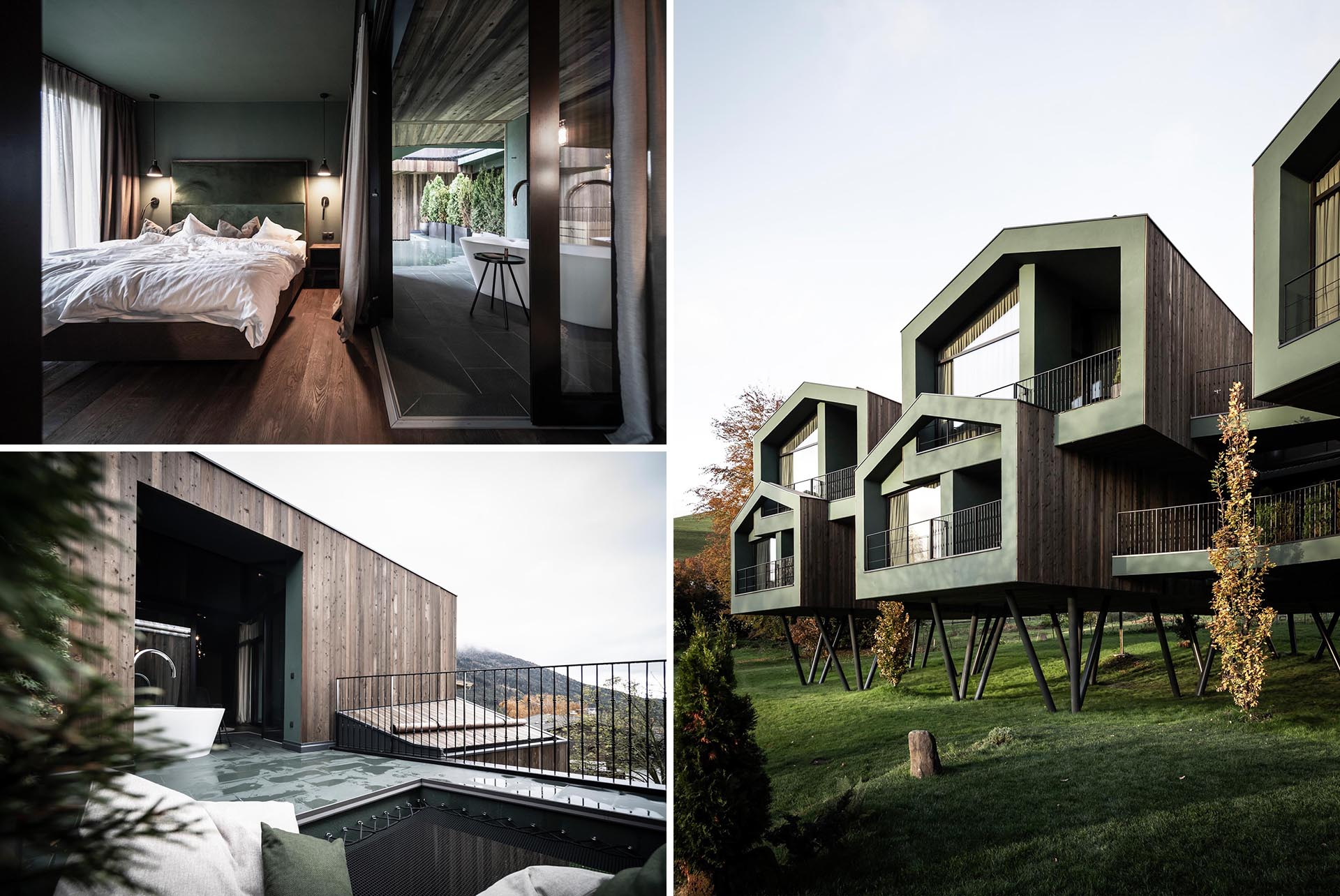 A collection of elevated hotel rooms designed to look like tree houses.