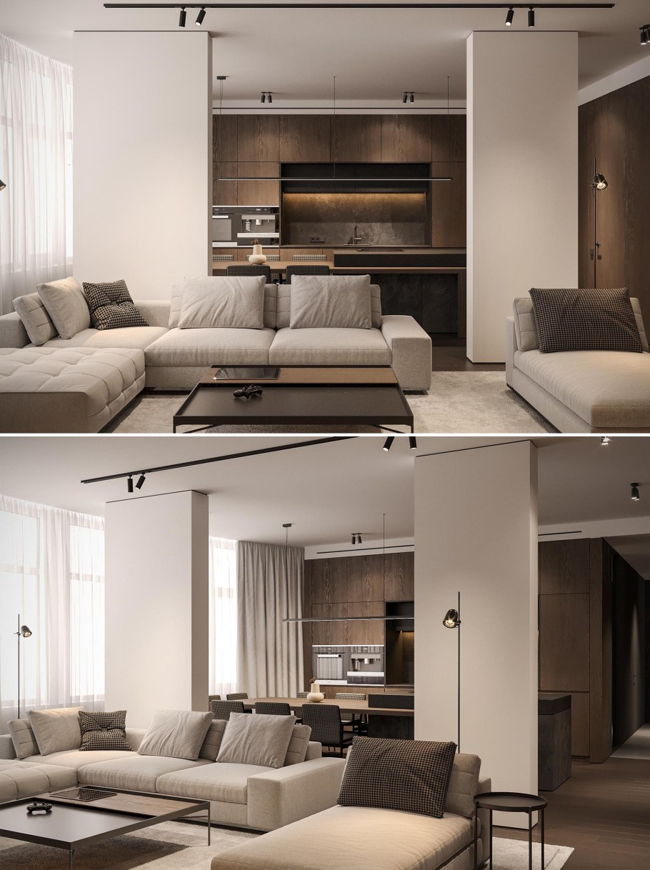 In this modern living room, modular furniture creates multiple seating areas, and the TV shelf is highlighted by lighting, similar to that in the bedrooms.