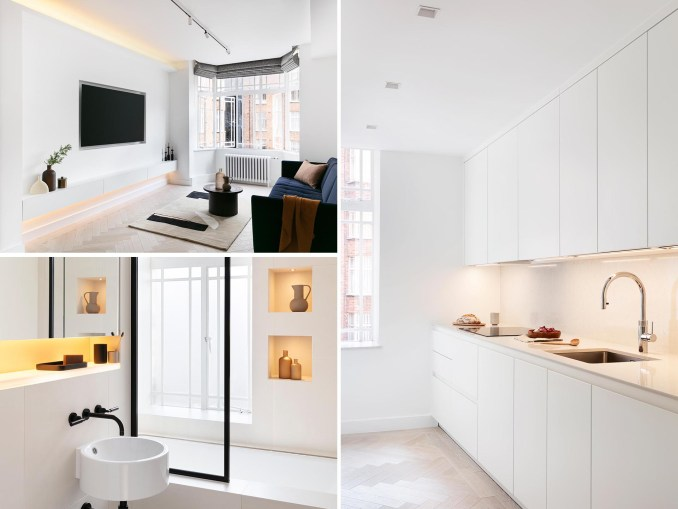 A modern white apartment with concealed LED lighting.