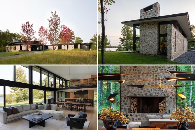 Vetter Architects has designed 'Camp Spirit Lake', a modern guest lodge that showcases rough-cut fieldstone and large windows that overlook a lake.