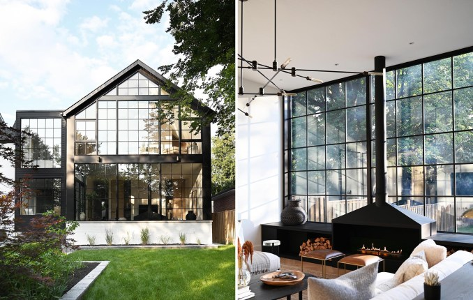 This contemporary home includes a back wall made up of large format loft style windows which are a contrast to the crisp material palette found throughout the home.
