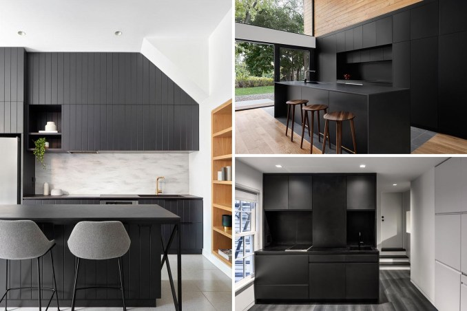 A collection of modern black kitchens.