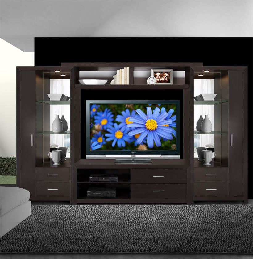 wood wall units for living room slipcovers chairs crystal entertainment center - glass shelves, accent ...