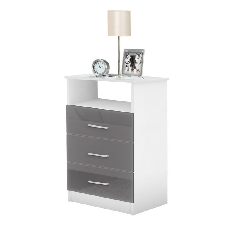 tall storage units for living room daybeds freedom nightstand - with 3 drawers, open ...