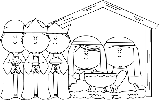 Black and White Nativity Scene with Wise Men Clip Art