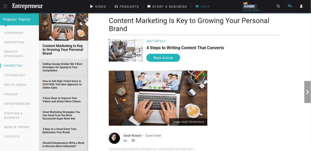 [Entrepreneur.com] Content Marketing Is Key to Growing Your Personal Brand