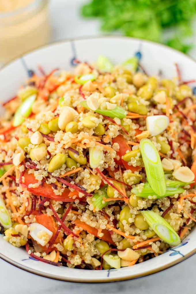 Closeup of the fresh salad ingredients.