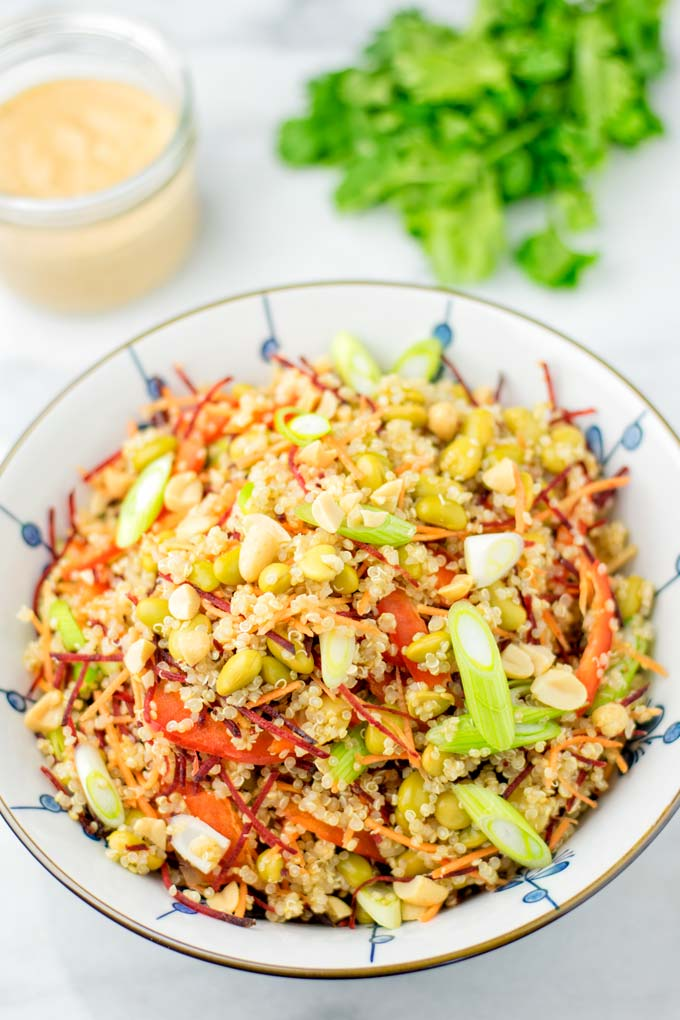 Bowl of the quinoa salad with Thai Peanut Sauce
