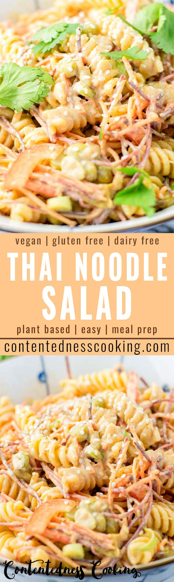 Filling and satisfying: This Thai Noodle Salad is covered in the most delicious Thai peanut sauce you've ever made and tasted. A keeper that tastes so delicious for dinner, lunch, meal prep and is so easy to make that the whole family will love, even the pickiest kids. #vegan #dairyfree #glutenfree #vegetarian #thainoodlesalad #peanutsauce #dinner #lunch #mealprep #comfortfood #worklunchideas #budgetmeals #contentednesscooking #comfortfood #familymeals