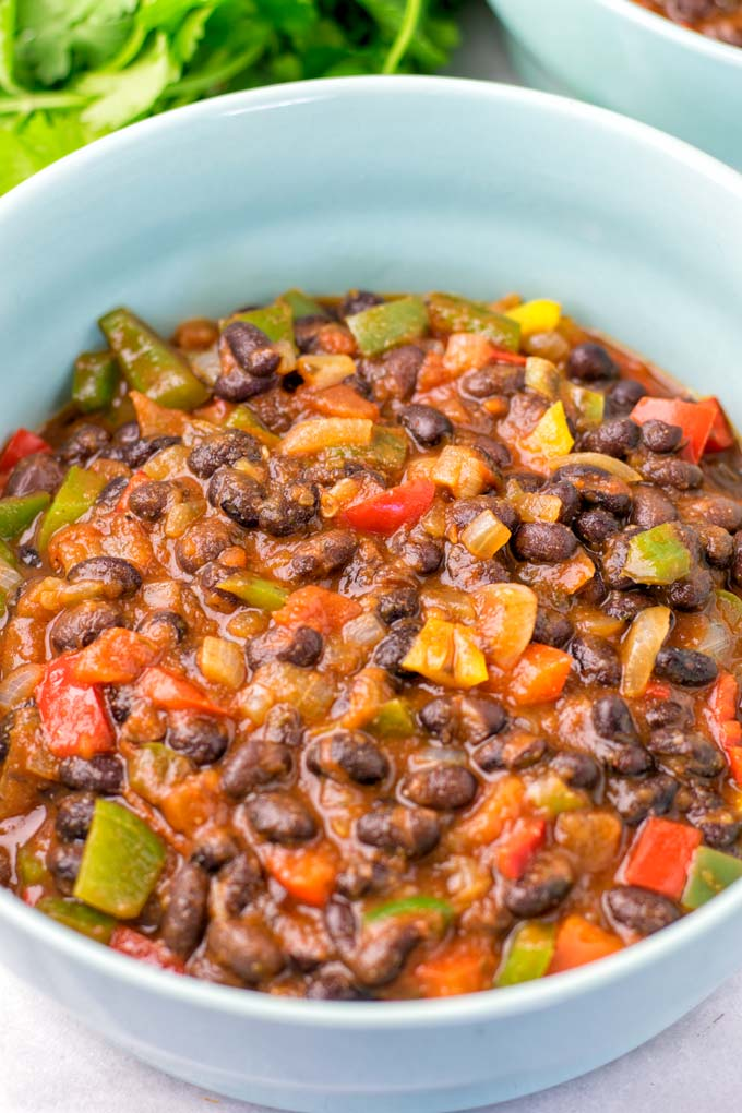 Blue bowl of the Instant Pot Chili.