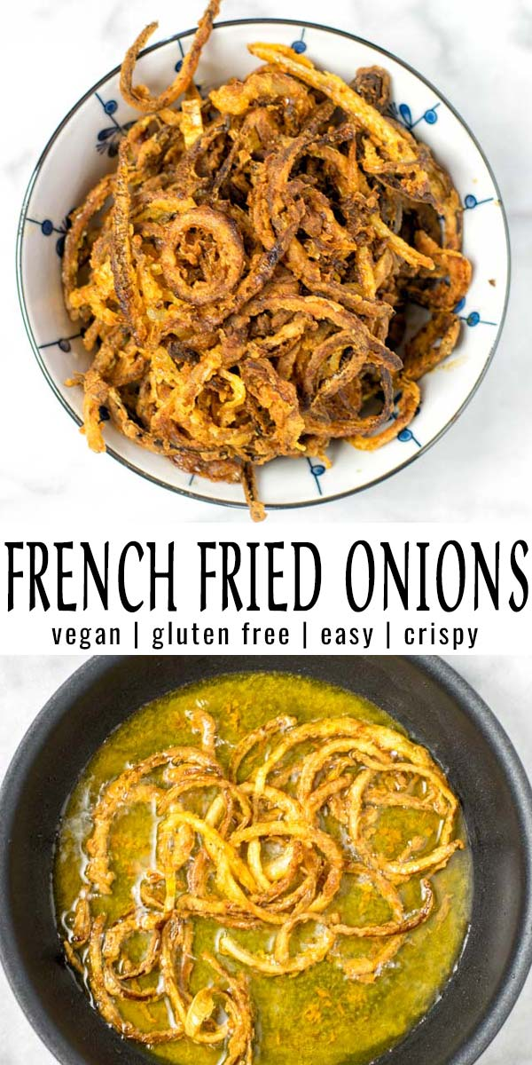 These French Fried Onions are easy to make at home and so versatile. Not only a holiday staple for many dishes, it will be a hit the whole year. No one would ever guess these are naturally vegan and taste like gourmet food from a restaurant. #vegan #dairyfree #glutenfree #vegetarian #dinner #lunch #mealprep #contentednesscooking #comfortfood #frenchfriedonions #holidayfood #condiment