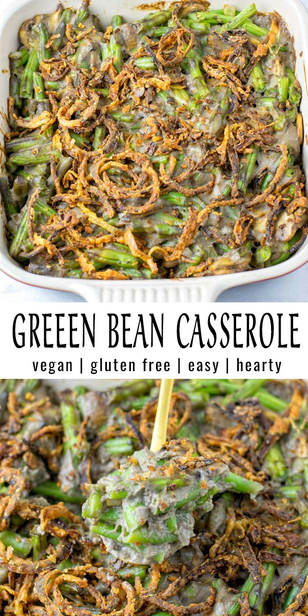 This Green Bean Casserole is made with a homemade mushroom soup and topped with French fried onions. It is easy to make with simple ingredients and no one could tell it is naturally vegan, tastes so much like the real deal. A keeper that everyone will love and should be on your holiday table. But also delicious the whole year. #vegan #dairyfree #glutenfree #vegetarian #comfortfood #dinner #holidayfood #mealprep #greenbeancasserole #familydinner #contentednesscooking #kidsmeals #thanksgiving #christmas