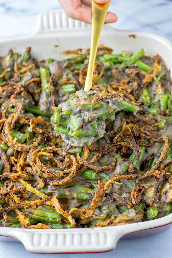 This vegan Green Bean Casserole is perfect comfort food for Thanksgiving and Christmas.