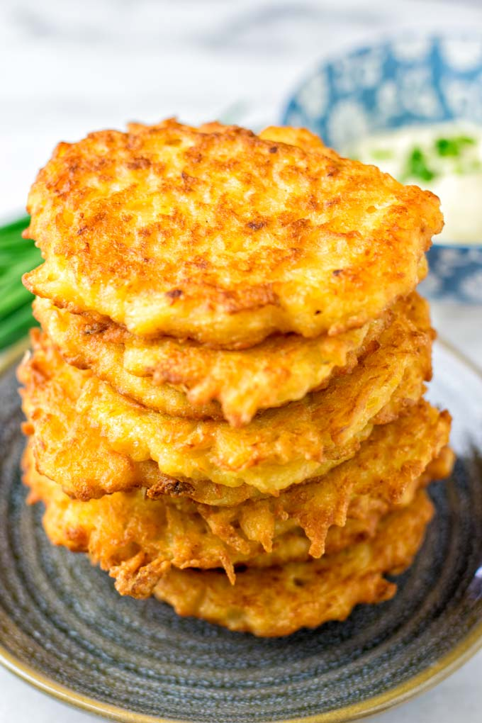 Closeup view of the golden fried potato cakes.
