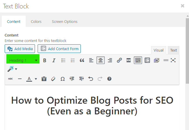 h1 optimization of blog posts seo