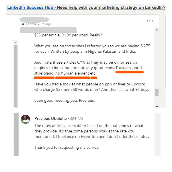 My conversation with LinkedIn prospect