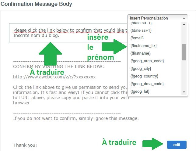 traduire le message de confirmation Aweber