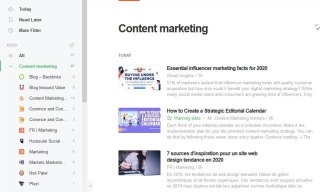 veille informationnelle Feedly idées de contenus