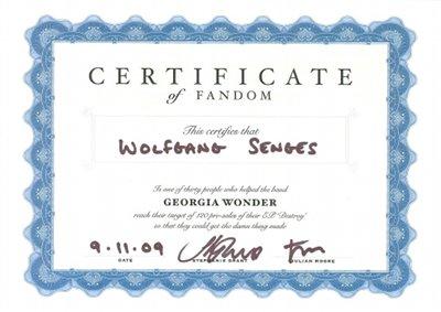 Georgia Wonder Fandom Certificate