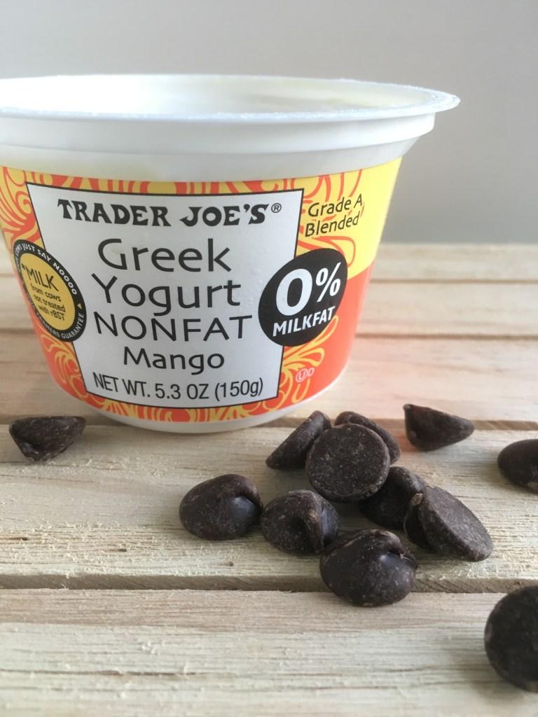 Frozen greek yogurt with chocolate chips