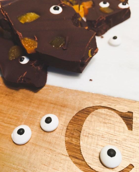 Healthy Halloween Chocolate Bark
