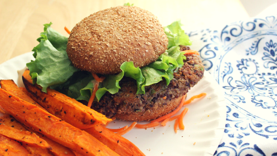 Veggie burger with sweet potato fries