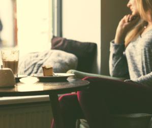 Cozy coffee shop warm light