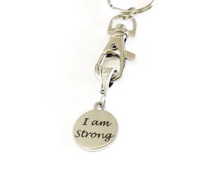 Motivational I Am Strong Workout Keychain