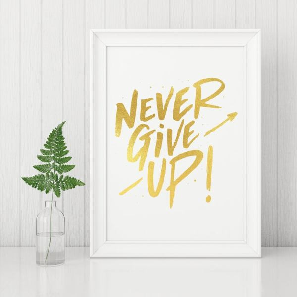 Never Give Up Inspirational Decor